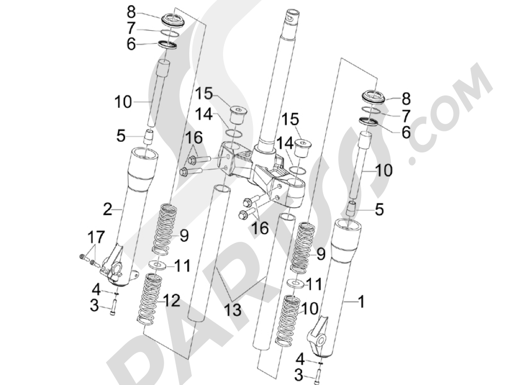 Componentes de la horquilla (Kayaba) Piaggio BEVERLY 250 CRUISER E3 ie 2007-2009