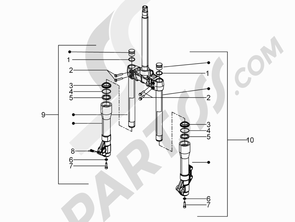 Componentes de la horquilla (Mingxing) Piaggio BEVERLY 250 CRUISER E3 ie 2007-2009