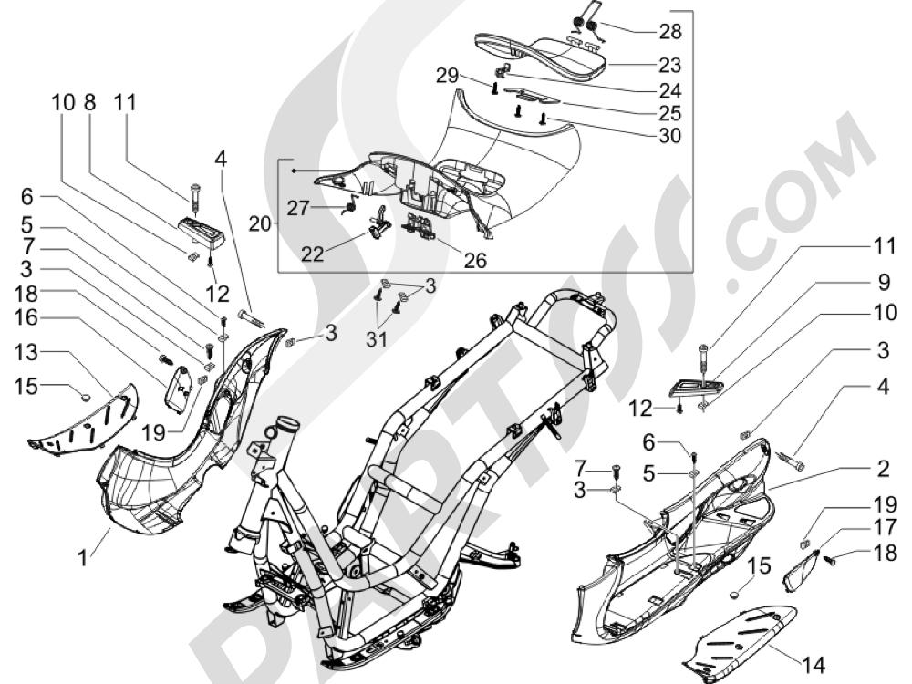 Cubierta central - Estribos Piaggio BEVERLY 250 CRUISER E3 ie 2007-2009