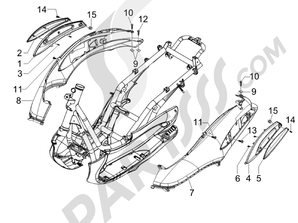 Cubiertas laterales - Spoiler Piaggio BEVERLY 250 CRUISER E3 ie 2007-2009