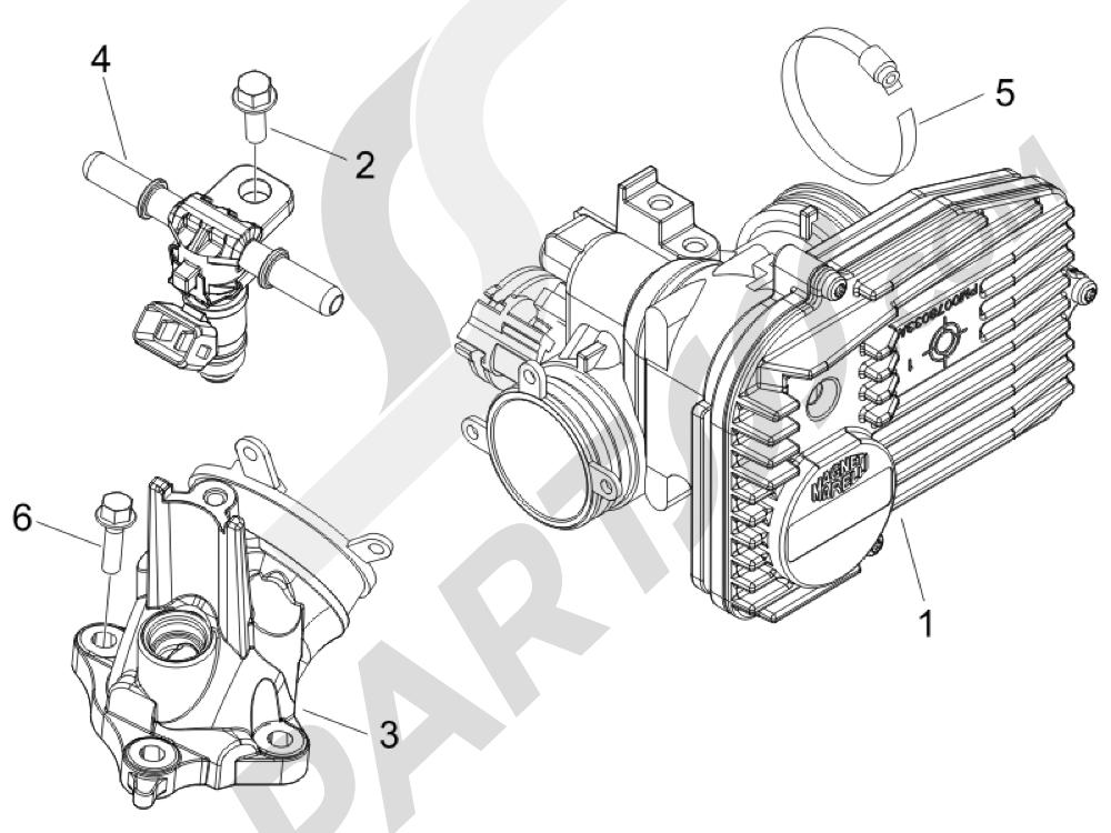 Cuerpo con mariposa - Inyector - Racord admisión Piaggio BEVERLY 250 CRUISER E3 ie 2007-2009