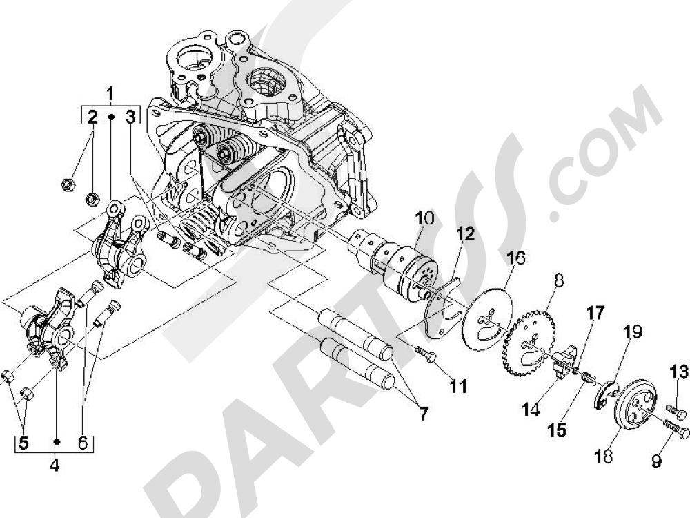 Grupo soporte balancines Piaggio BEVERLY 250 CRUISER E3 ie 2007-2009