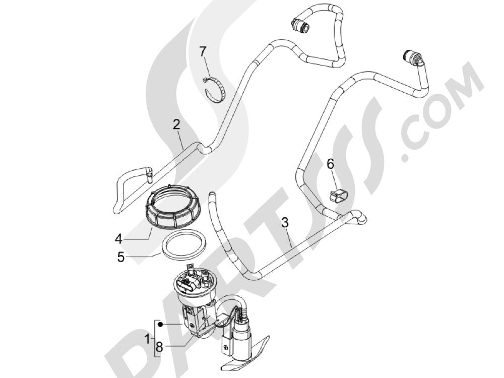 Instalación de alimentación Piaggio BEVERLY 250 CRUISER E3 ie 2007-2009