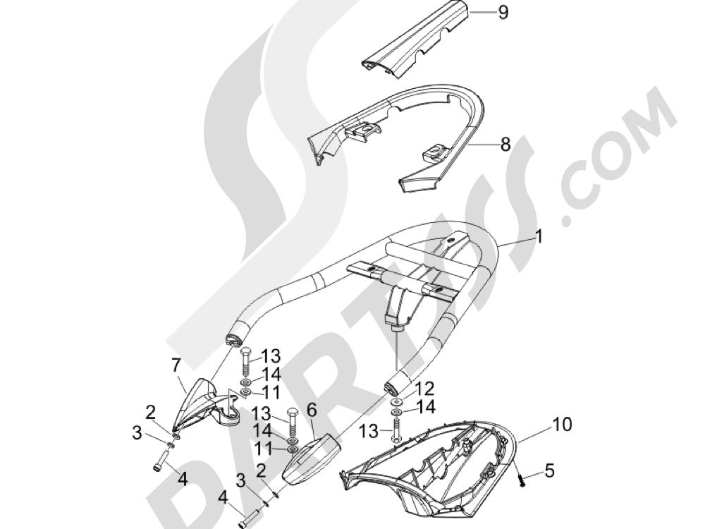 Portaequipajes trasero Piaggio BEVERLY 250 CRUISER E3 ie 2007-2009