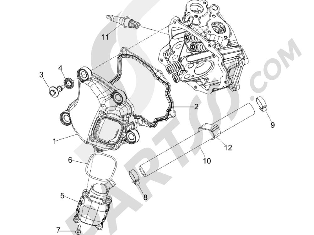 Tapa culata Piaggio BEVERLY 250 CRUISER E3 ie 2007-2009