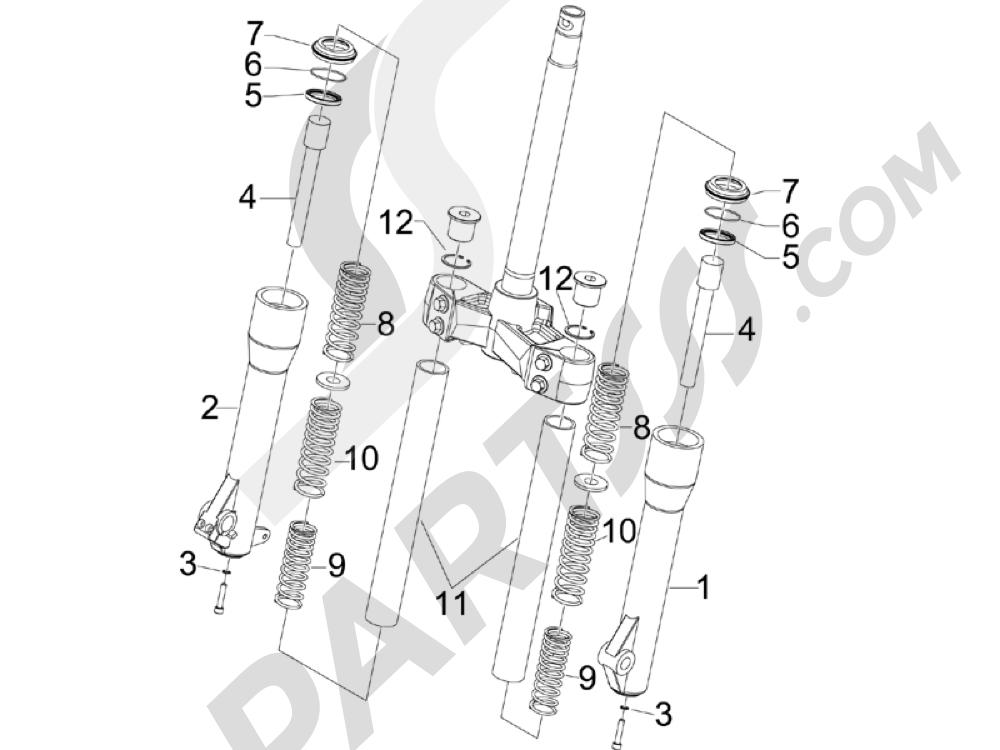 Componentes de la horquilla (Escorts) Piaggio Beverly 250 ie E3 2006-2008