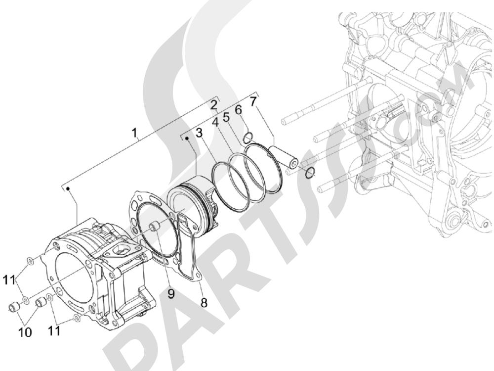 Grupo cilindro-pistón-eje Piaggio Beverly 250 ie E3 2006-2008