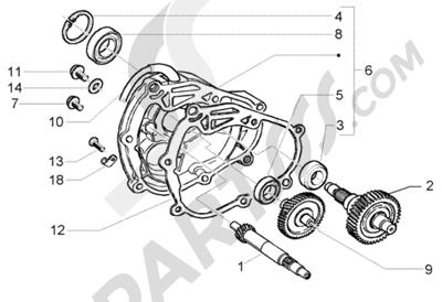 Piaggio Beverly 250 RST 1998-2005 Eje rueda trasera