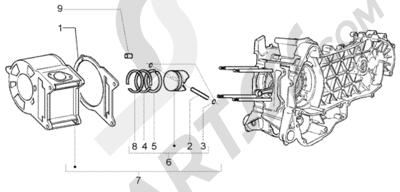 Piaggio Beverly 250 RST 1998-2005 Grupo cilindro - piston - eje de piston