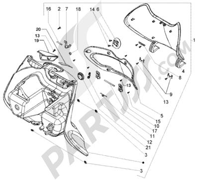 Piaggio Beverly 250 RST 1998-2005 Guantera delantera