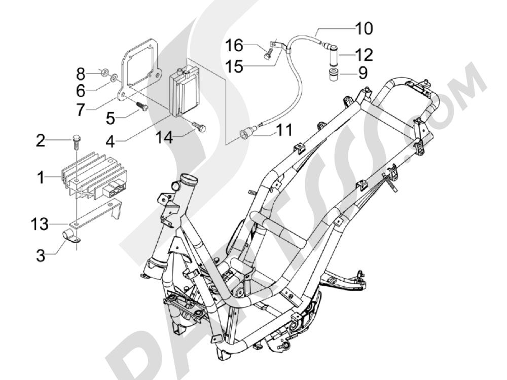 Piaggio Beverly 250 Tourer 2007-2009 Reguladores de tensión - Centralitas electrónicas - Bobina A.T.