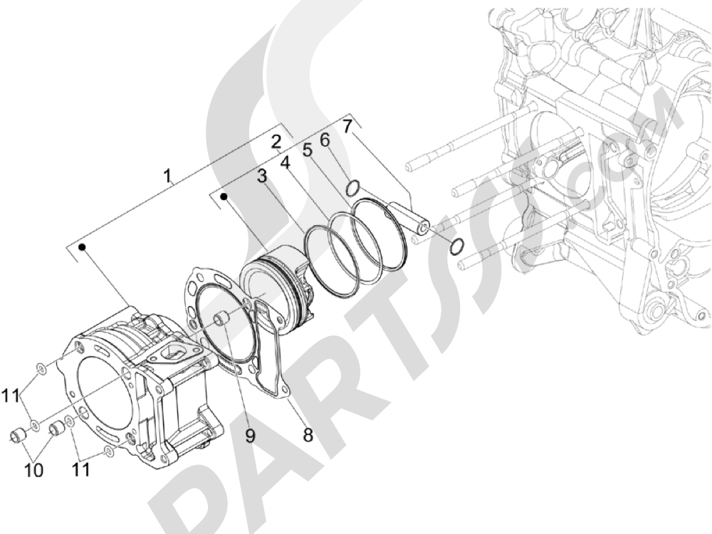 Grupo cilindro-pistón-eje Piaggio Beverly 300 ie Tourer E3 2009