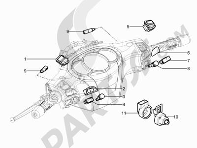 Piaggio BEVERLY 300 RST/S 4T 4V IE E3 2010-2015 Conmutadores - Conmutadores - Pulsadores - Interruptores
