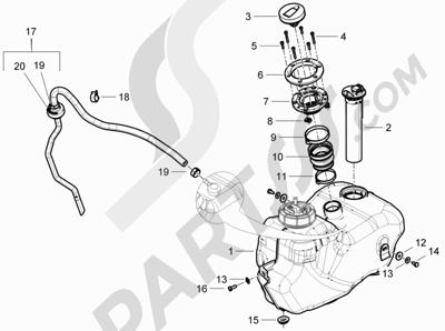 Piaggio BEVERLY 300 RST/S 4T 4V IE E3 2010-2015 Depósito carburante