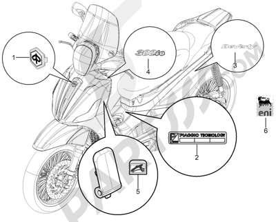 Piaggio BEVERLY 300 RST/S 4T 4V IE E3 2010-2015 Letreros - Escudos