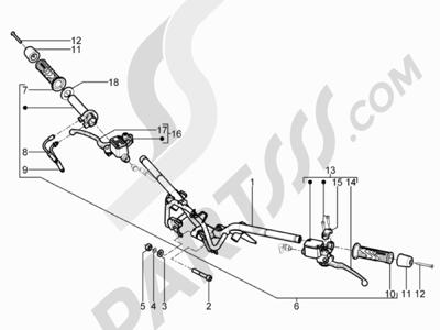 Piaggio BEVERLY 300 RST/S 4T 4V IE E3 2010-2015 Manillar - Bomba freno
