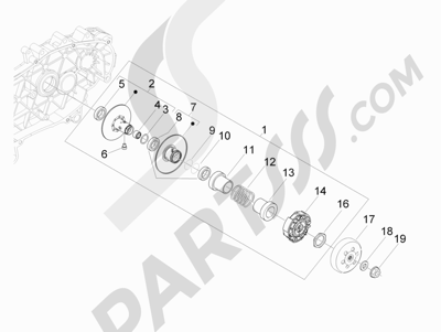 Piaggio BEVERLY 300 RST/S 4T 4V IE E3 2010-2015 Polea conducida