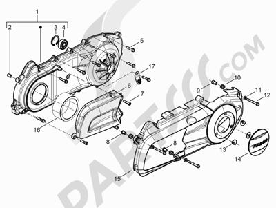 Piaggio BEVERLY 300 RST/S 4T 4V IE E3 2010-2015 Tapa cárter - Refrigeracion cárter