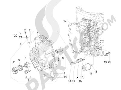Piaggio BEVERLY 300 RST/S 4T 4V IE E3 2010-2015 Tapa volante magnetico - Filtro de aceite