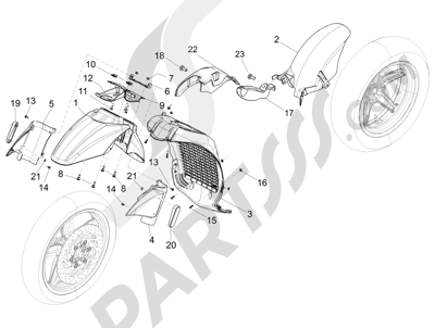 Piaggio Beverly 350 4T 4V ie E3 Sport Touring 2013-2014 Alojamiento rueda - Guardabarros
