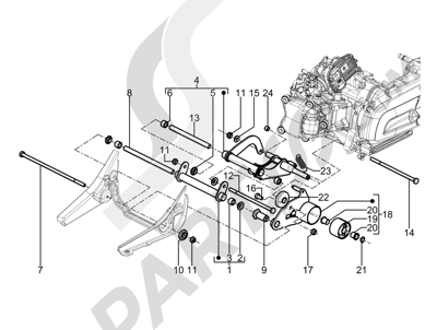 Piaggio Beverly 350 4T 4V ie E3 Sport Touring 2013-2014 Brazo oscilante