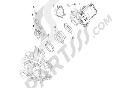 Piaggio Beverly 350 4T 4V ie E3 Sport Touring 2013-2014 Cuerpo con mariposa - Inyector - Racord admisión