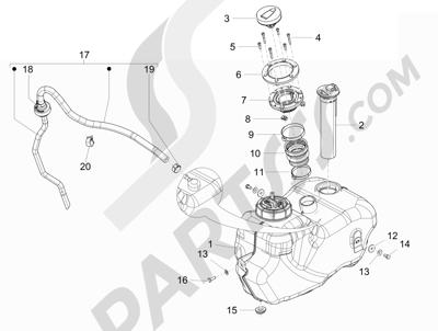 Piaggio Beverly 350 4T 4V ie E3 Sport Touring 2013-2014 Depósito carburante