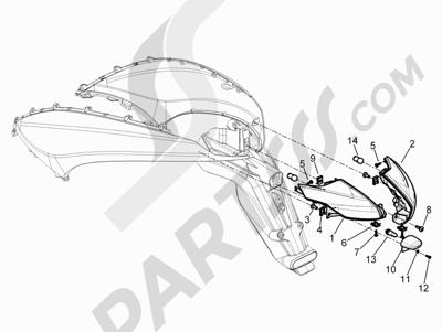 Piaggio Beverly 350 4T 4V ie E3 Sport Touring 2013-2014 Faros traseros - Indicadores de dirección