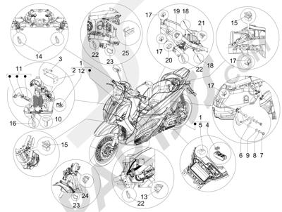 Piaggio Beverly 350 4T 4V ie E3 Sport Touring 2013-2014 Grupo cables principal