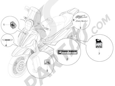 Piaggio Beverly 350 4T 4V ie E3 Sport Touring 2013-2014 Letreros - Escudos