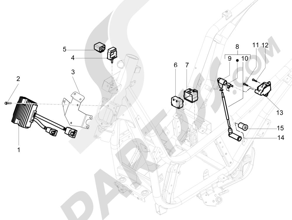 Piaggio Beverly 350 4T 4V ie E3 Sport Touring 2013-2014 Reguladores de tensión - Centralitas electrónicas - Bobina A.T.