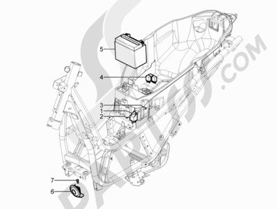 Piaggio Beverly 350 4T 4V ie E3 Sport Touring 2013-2014 Telerruptores - Bateria - Claxon