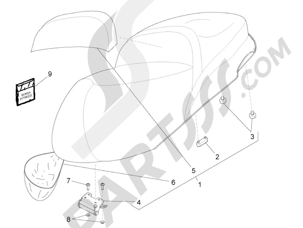 Sillín asientos Piaggio Beverly 350 4T 4V ie E3 Sport Touring 2013-2014