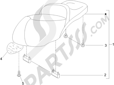 Piaggio Beverly 500 2005-2006 Sillín asientos - Bolsa herramienta
