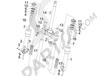 Piaggio Beverly 500 Cruiser E3 2007-2012 Componentes de la horquilla (Kayaba)