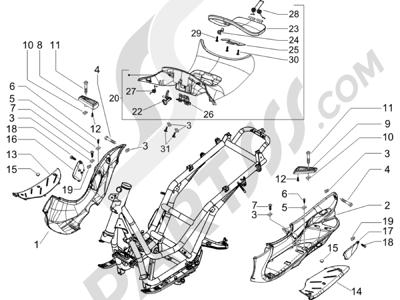 Piaggio Beverly 500 Cruiser E3 2007-2012 Cubierta central - Estribos