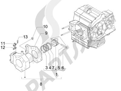 Piaggio Beverly 500 Cruiser E3 2007-2012 Grupo cilindro-pistón-eje