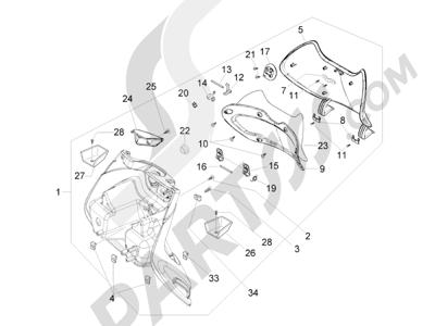 Piaggio Beverly 500 Cruiser E3 2007-2012 Maletero delantero - Contraescudo