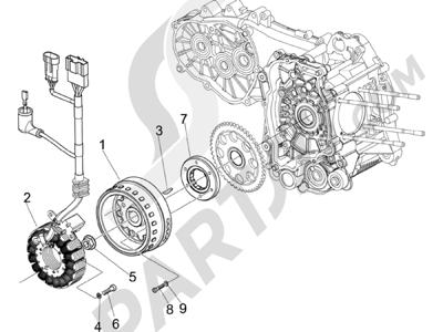 Piaggio Beverly 500 Cruiser E3 2007-2012 Volante magnetico