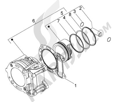 Piaggio BV 200 (U.S.A.) 1998-2005 Grupo cilindro-piston-eje de piston