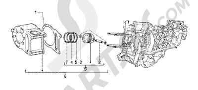 Piaggio BV 200 (U.S.A.) 1998-2005 Cylinder-piston-wrist pin, assy