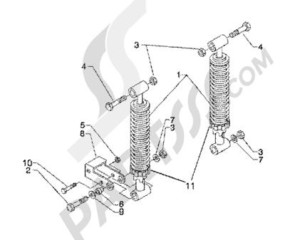 Piaggio BV 200 (U.S.A.) 1998-2005 Rear shock absorbers