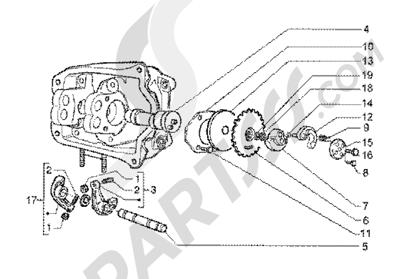 Piaggio BV 200 (U.S.A.) 1998-2005 Rocker levers support