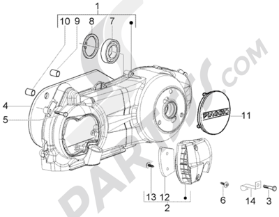 Piaggio BV 250 (U.S.A.) 1998-2005 Refrigeracion carter