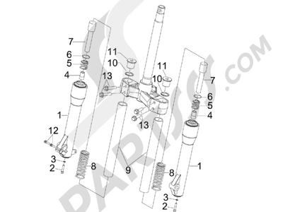 Piaggio BV 250 (USA) 2007-2008 Componentes de la horquilla (MVP)