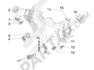 Piaggio BV 250 Tourer (USA) 2008 Conmutadores - Conmutadores - Pulsadores - Interruptores