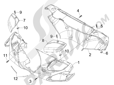 Piaggio BV 300 ie Tourer (USA) 2009-2011 Coberturas manillar