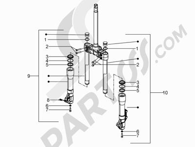 Piaggio BV 300 ie Tourer (USA) 2009-2011 Componentes de la horquilla (Mingxing)