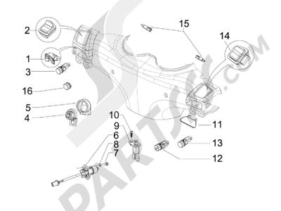 Piaggio BV 300 ie Tourer (USA) 2009-2011 Conmutadores - Conmutadores - Pulsadores - Interruptores