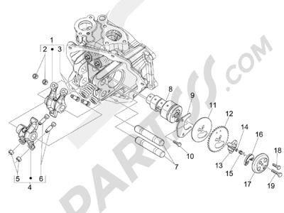 Piaggio BV 300 ie Tourer (USA) 2009-2011 Grupo soporte balancines